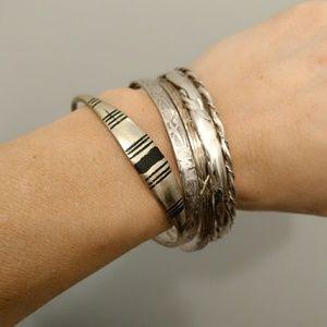 Vintage Sterling Silver Mexican Bangle Bracelet